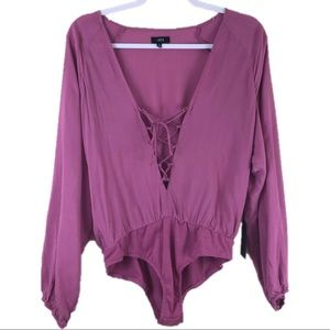 Lucca Couture Pink Mauve Lace Up Bodysuit